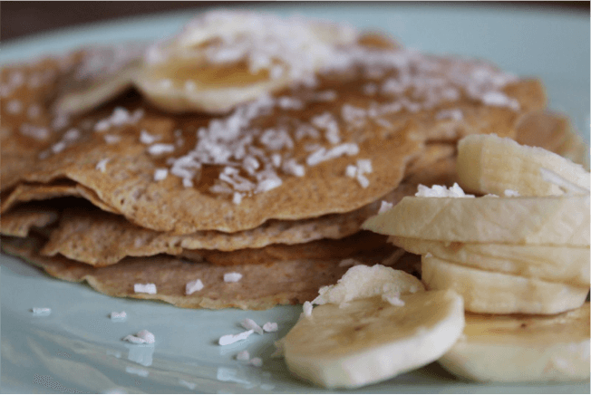protein pancakes with banana and desiccated coconut